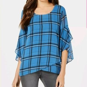 Style Co Plaid Crossover Top Cerulean Size Small